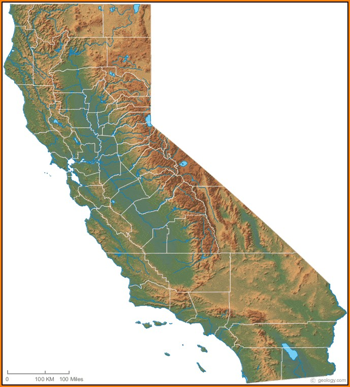 Topographical Map Of Southern California