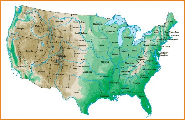 Topographical Map Of Usa States