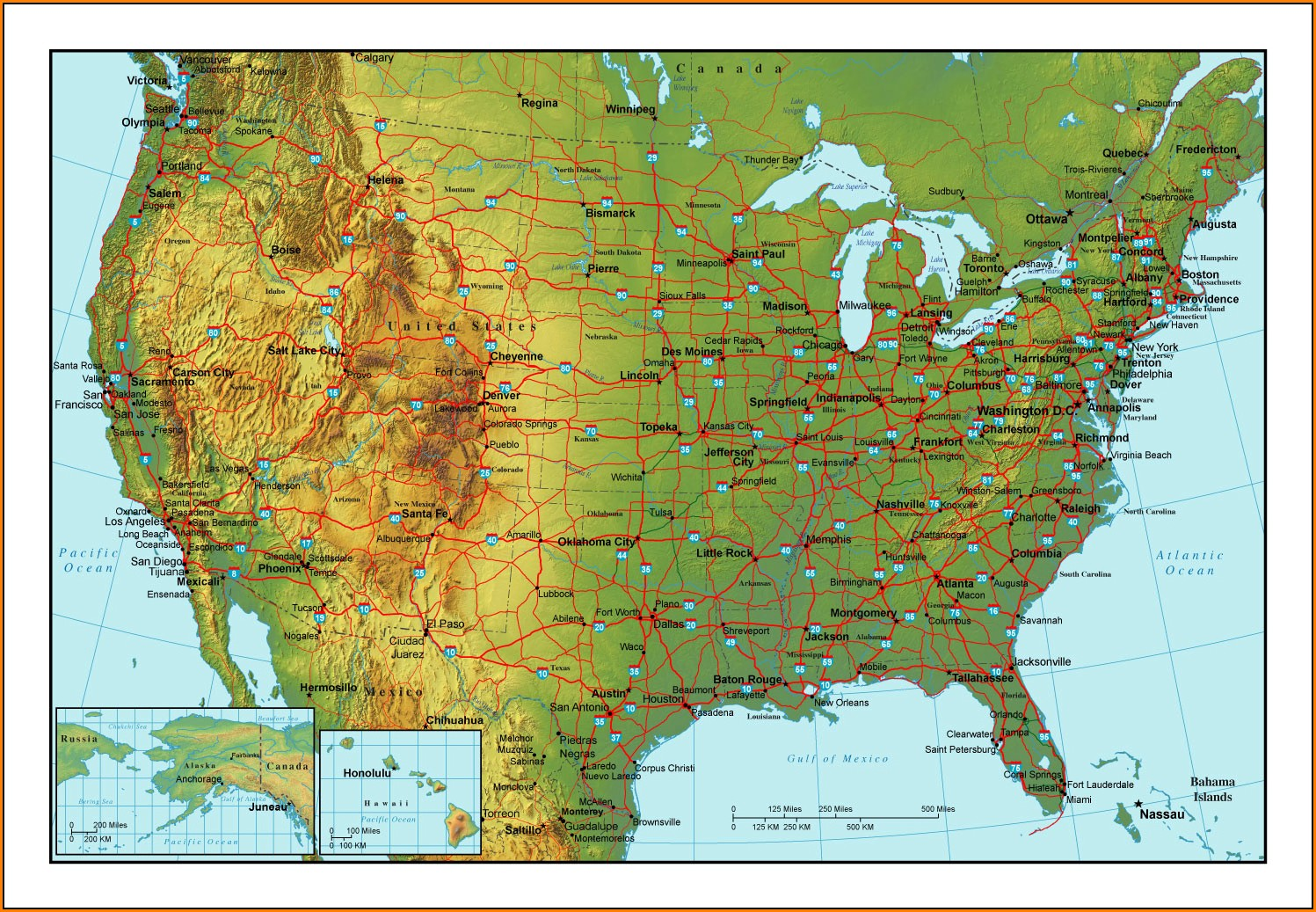 Topographical Map Of Usa
