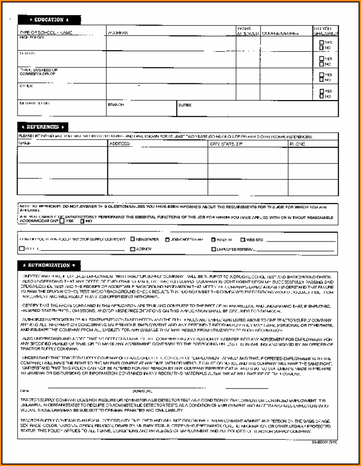 Tractor Supply Company Job Application