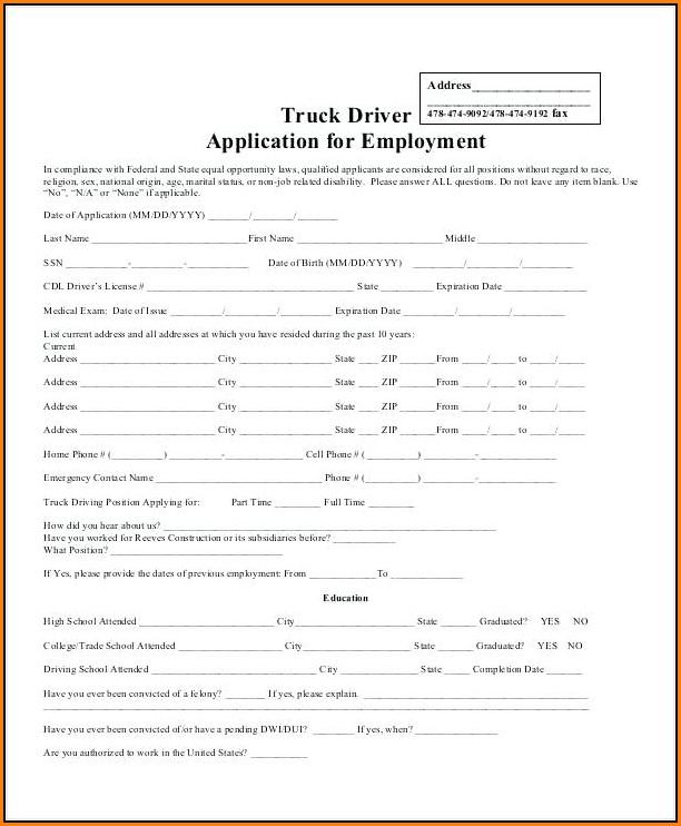 Truck Driver Employment Application Form Template