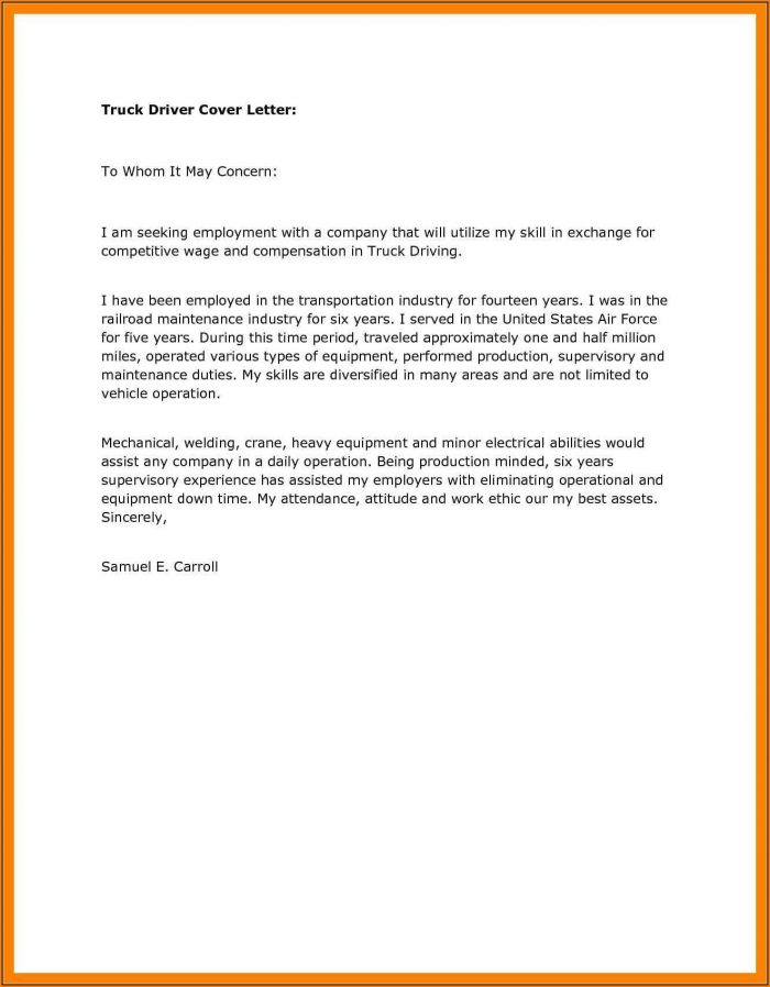 Truck Driver Application Letter Sample - Truck Driver Cover Letter