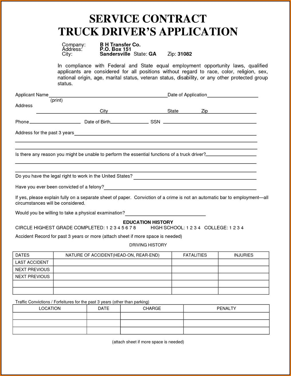 Truck Driver Job Application