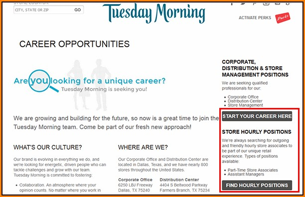 Tuesday Morning Job Application Online