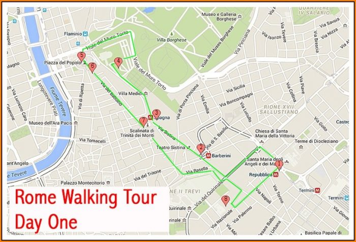Walking Tour Map Of Rome