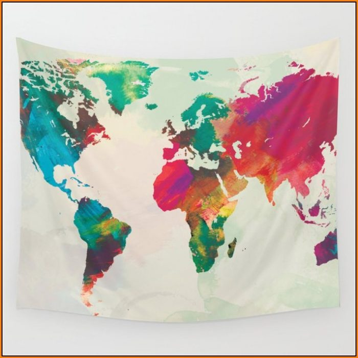 Watercolor World Map Tapestry