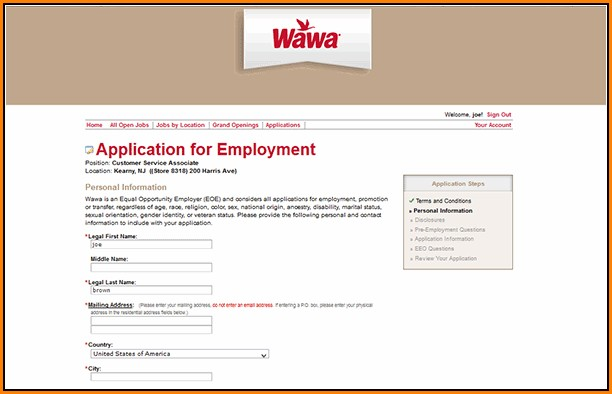 Wawa Job Application Online