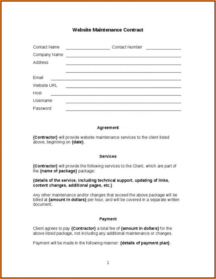Website Maintenance Agreement Template