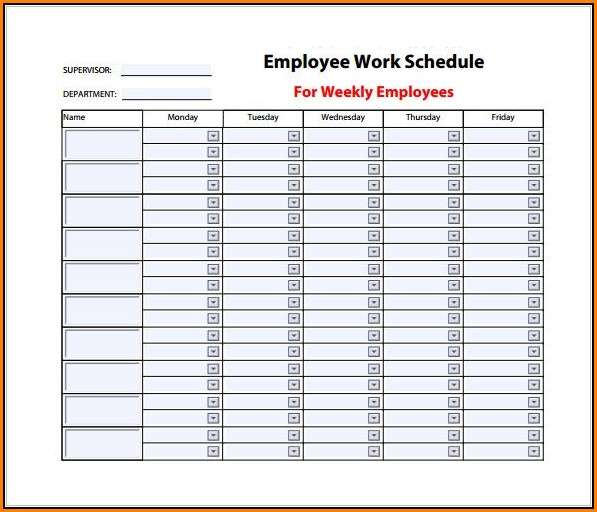 Weekly Work Schedule Template Excel Free