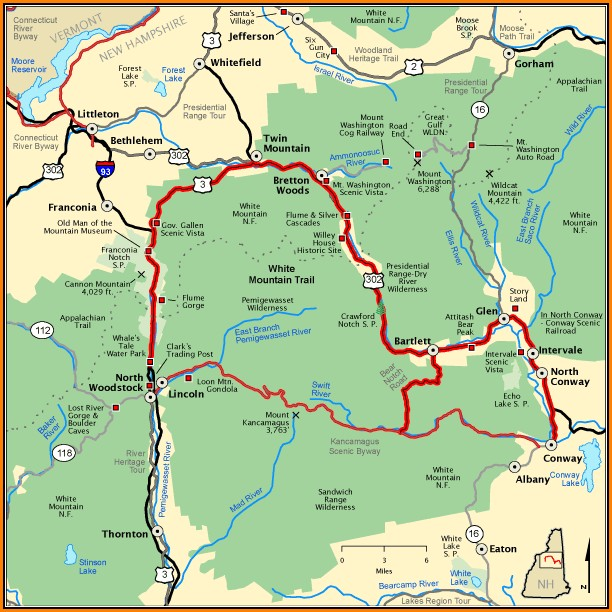 White Mountains Hiking Map