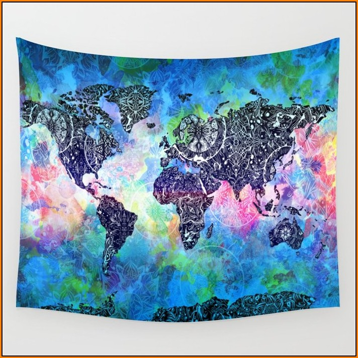 World Map Mandala Tapestry