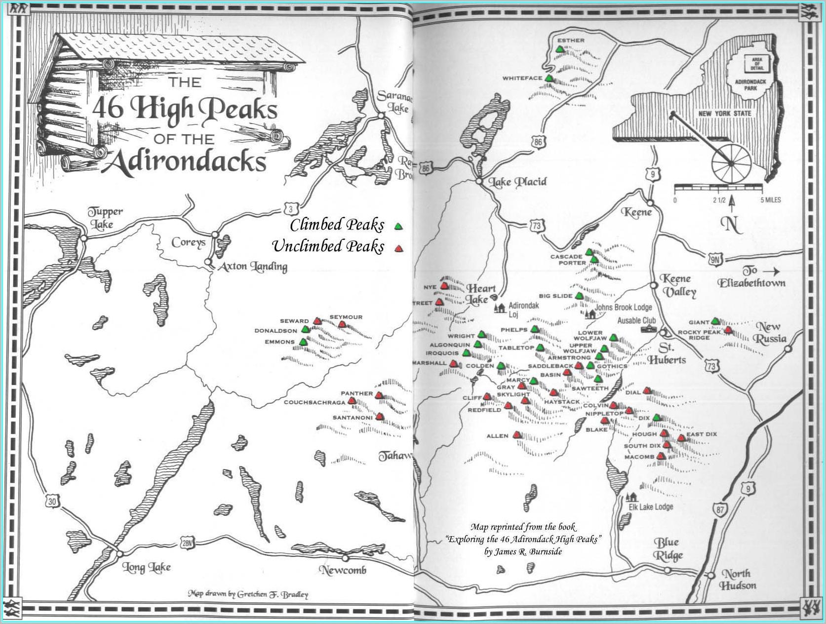 46 High Peaks Adirondacks Map