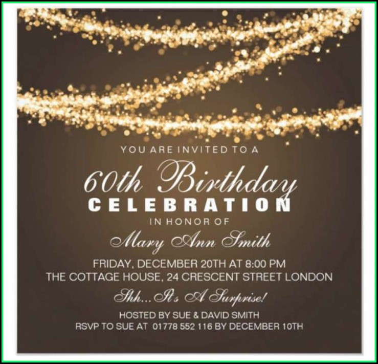 60th Birthday Invitation Cards Templates