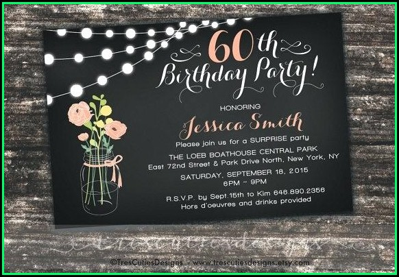 60th Birthday Invitations Template Uk
