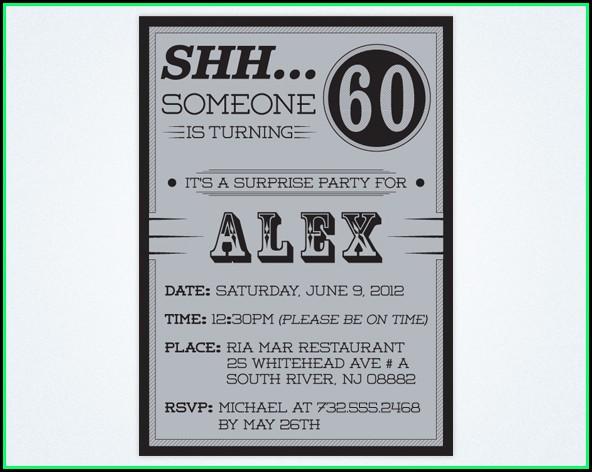 60th Surprise Party Invitation Templates