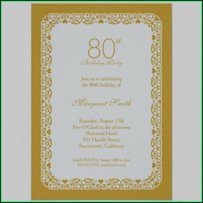 80th Birthday Invitation Layout