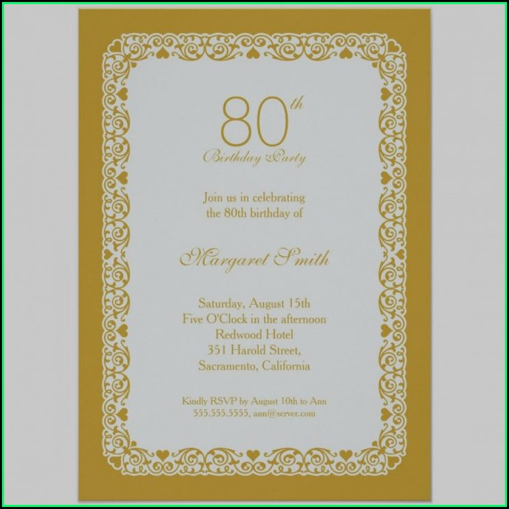 80th Birthday Invitation Layout