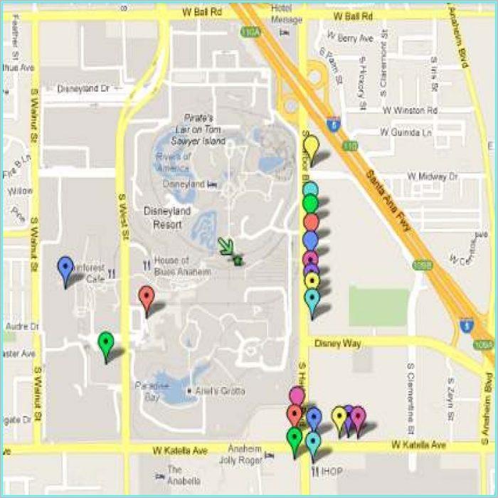 Anaheim Hotel Map Disneyland
