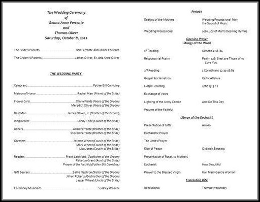 Anglican Church Wedding Program Template