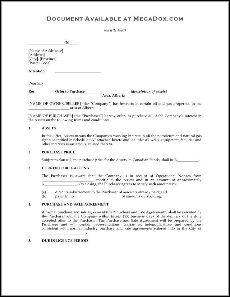 Asset Purchase Agreement Template Ontario
