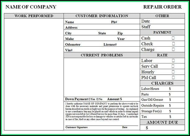 Auto Repair Invoice Example