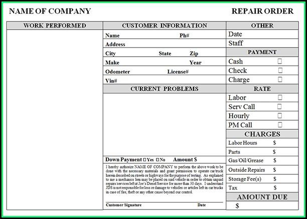 Auto Repair Invoice Example
