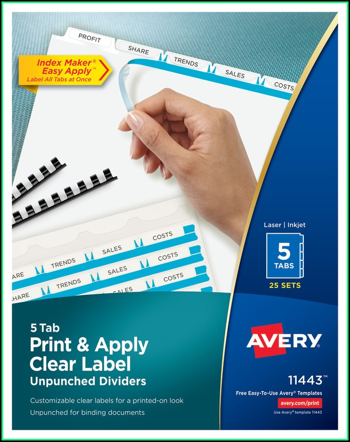 Avery 5 Tab Template 11443