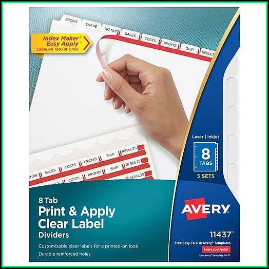 Avery 8 Tab Index Template 11437