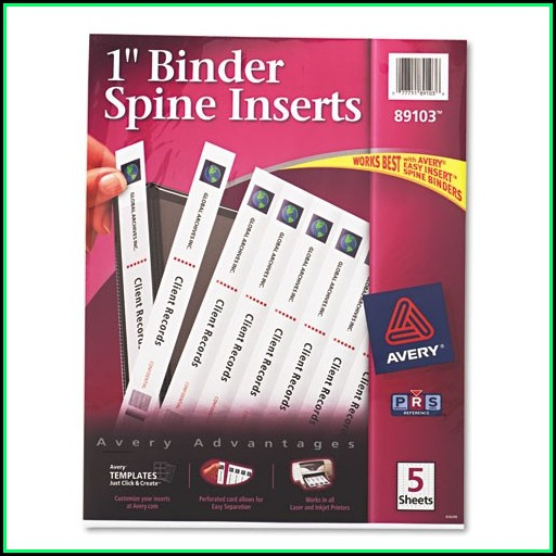 Avery Binder Templates Spine 1 Inch
