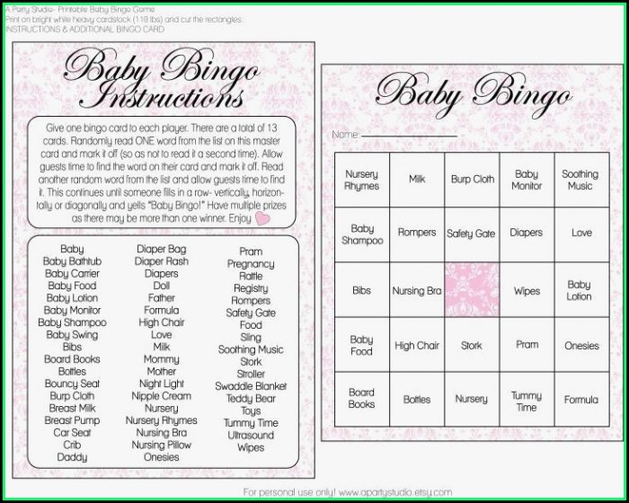 Baby Shower Bingo Template Girl
