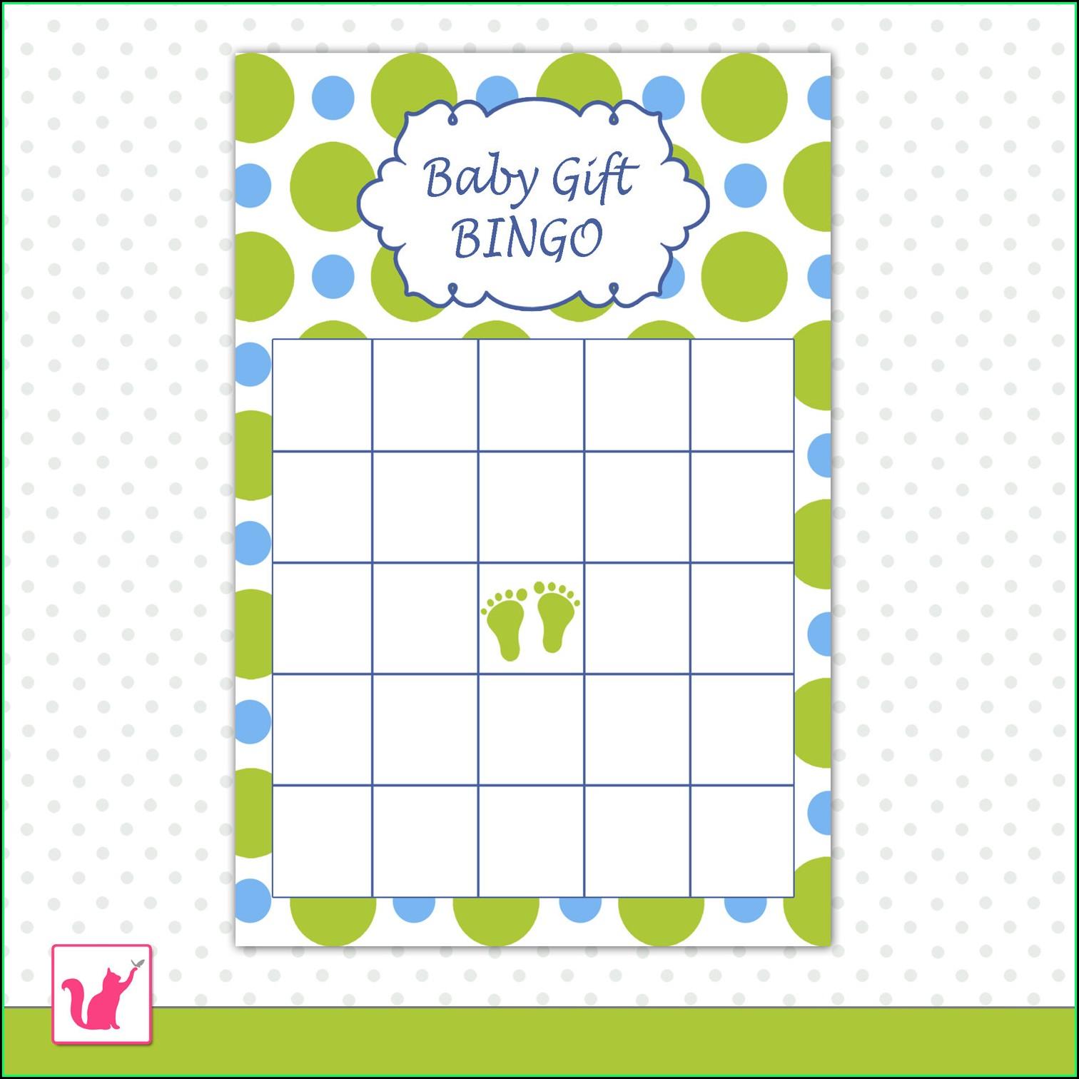 Baby Shower Bingo Template Word