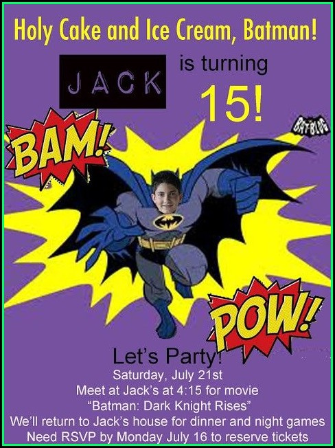 Batman Birthday Invitation Templates Free