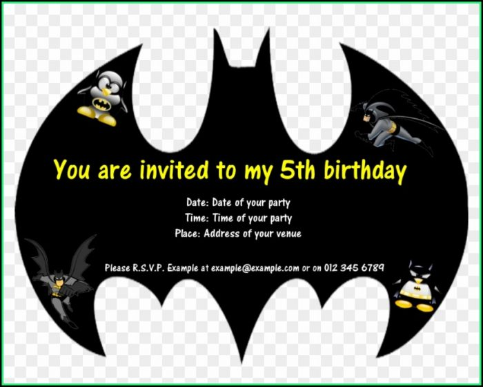 Batman Invitation Card Template