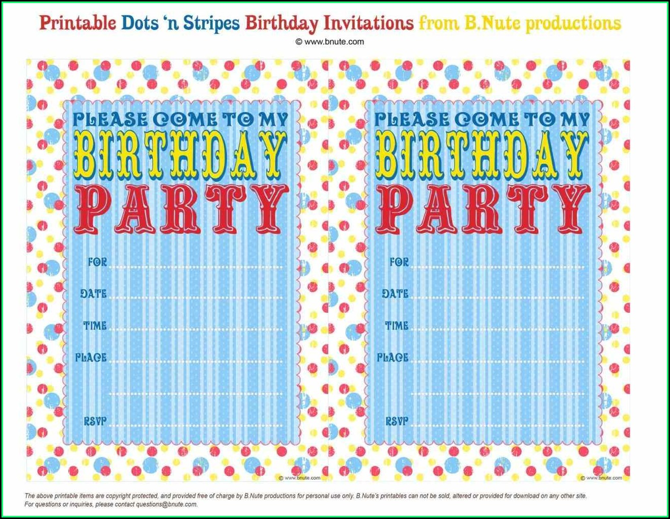 Birthday Party Invites Templates Free Printables