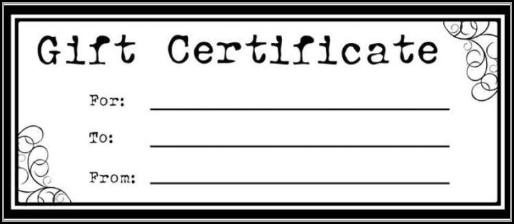 Blank Gift Certificate Template Free Printable