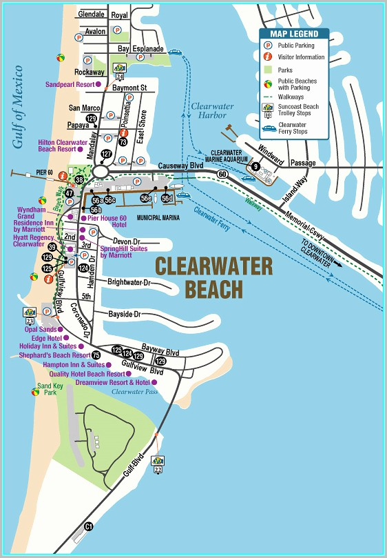 Clearwater Beach Fl Hotels Map