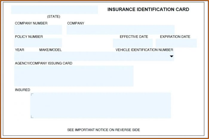 Fake Car Insurance Card Template