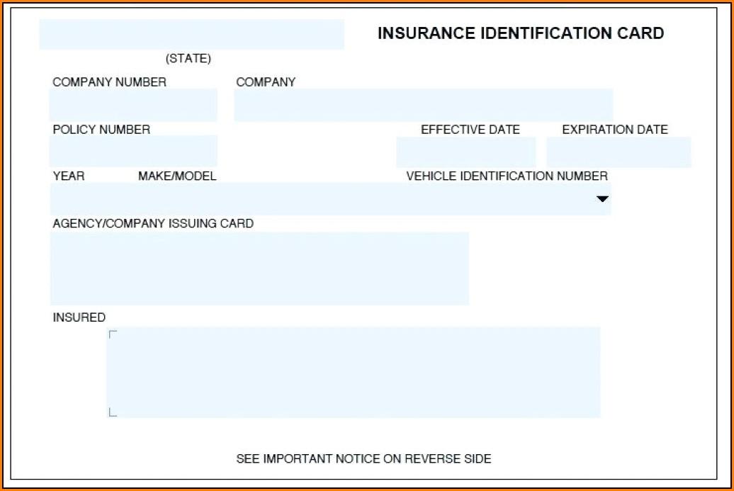 Fake Car Insurance Card Template