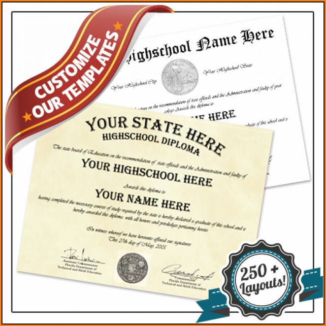 Fake High School Diploma Template