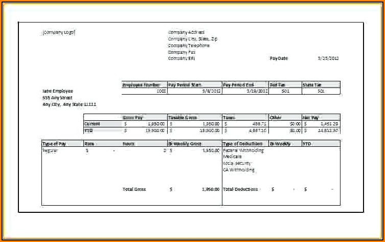 Fake Pay Stub Template Free