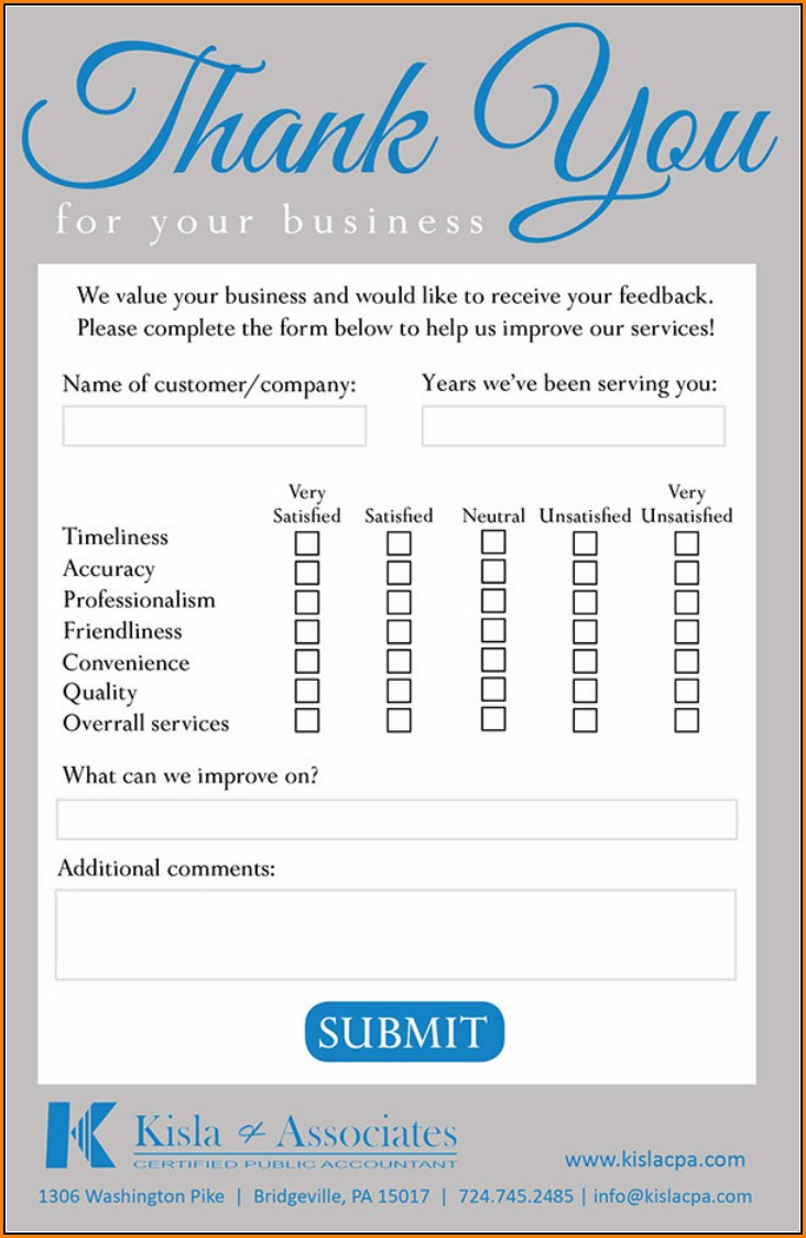 Feedback Comment Card Template