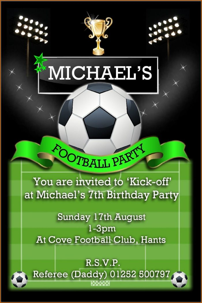 Football Birthday Party Invitation Templates Free