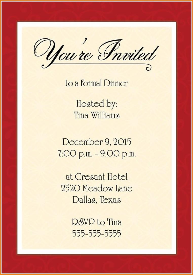 Formal Dinner Invitation Template