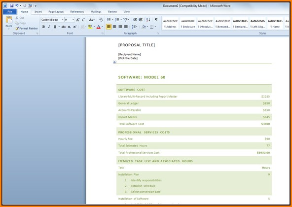 Free Business Proposal Template Word