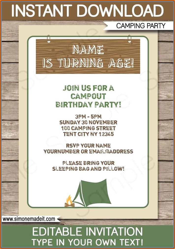 Free Camping Birthday Party Invitation Templates