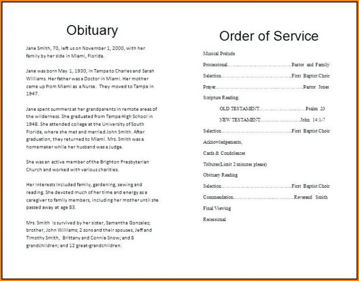 Free Catholic Funeral Order Of Service Template