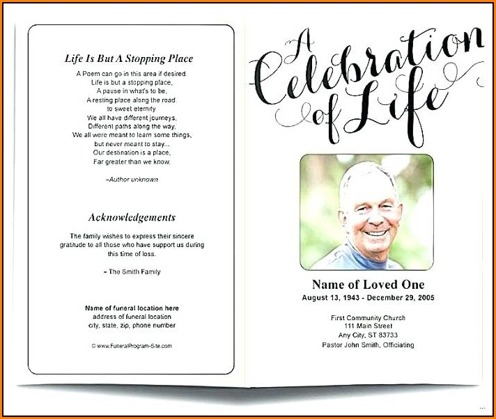 Free Celebration Of Life Program Template