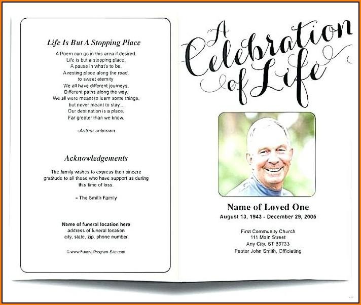 Free Celebration Of Life Program Template
