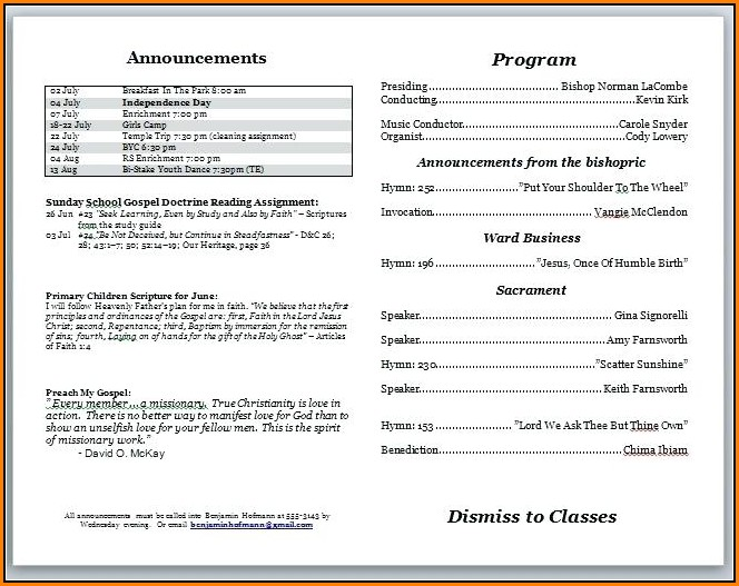 Free Church Bulletin Templates Download