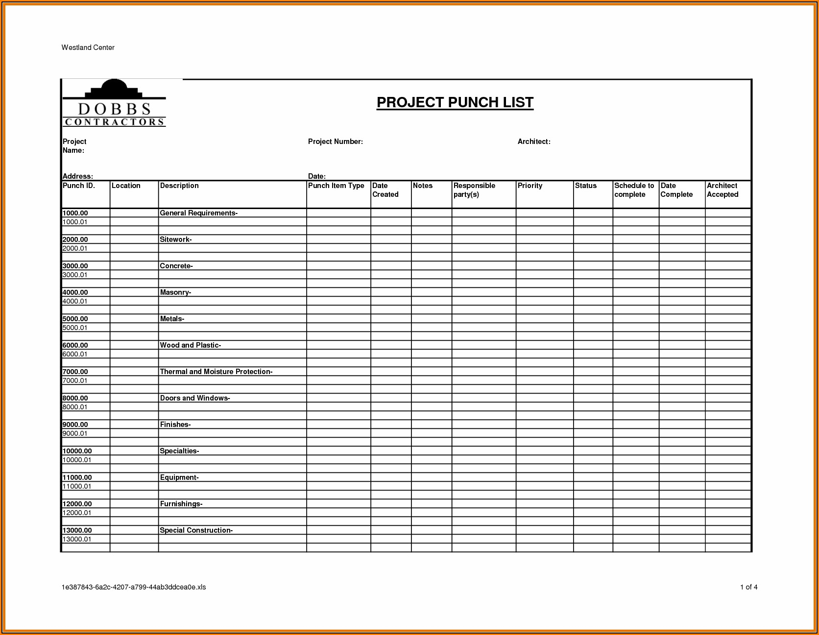 Free Construction Punch List Template
